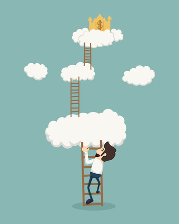 corporate ladder: Businessman on a ladder above the clouds looking golden castle
