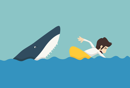 financial emergency: Businessman swimming to escape sharks Illustration