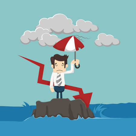 shielding: Businessman with umbrella standing in the sea  Illustration