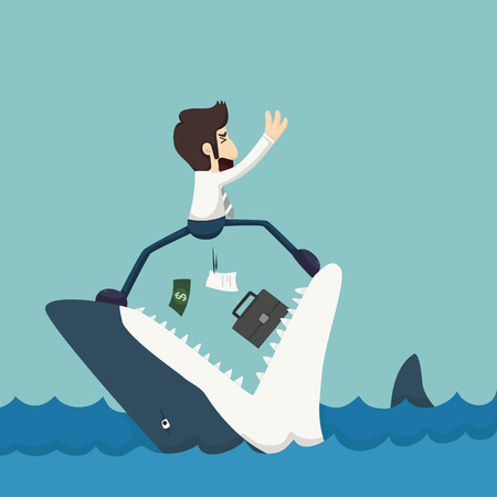 tiburon  de caricatura: Empresario de pie en Mand�bulas de tibur�n Vectores