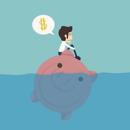 crisis management: Businessman sitting on a piggybank , businessman no money