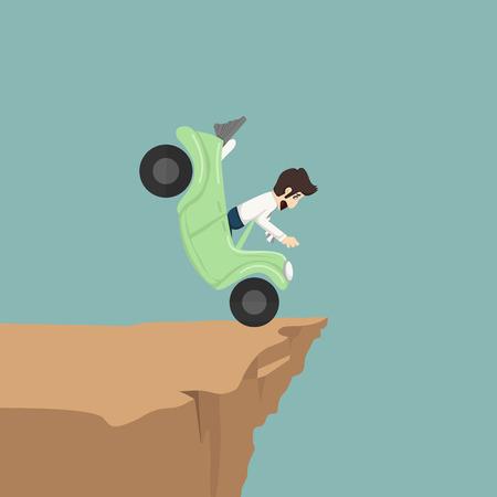credit risk: Businessman brake car
