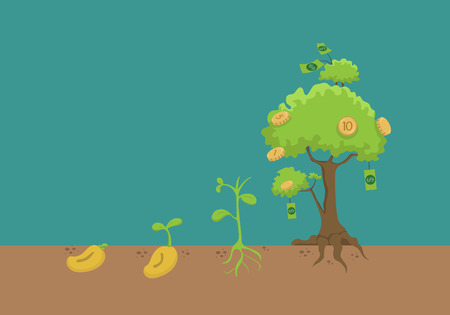 grow money: Evolution of money tree  Illustration
