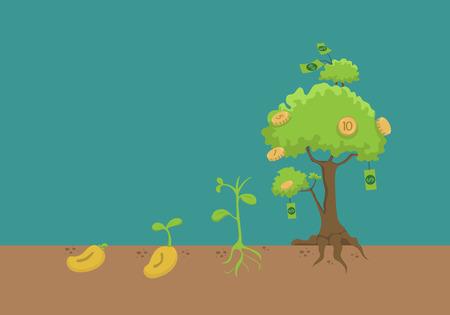 grow money: Evolution of money tree  Illustration