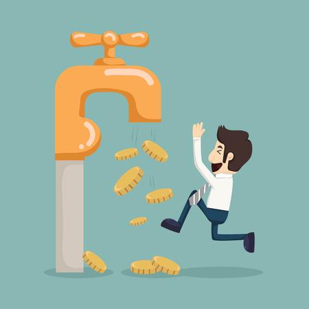 Geld munten vallen uit de gouden kraan