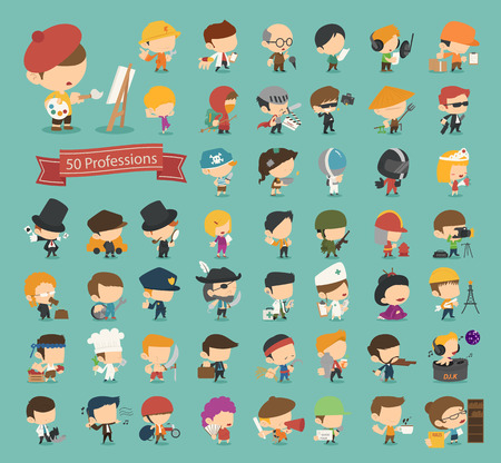 Set of 50 professions  Vector
