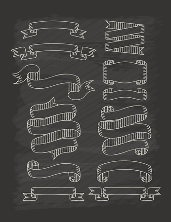 Set of ribbons  in vintage style with chalkboard , eps10 vector format Vector