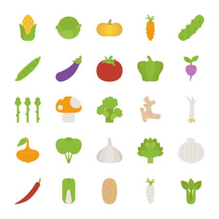 Groenten pictogrammen, platte ontwerp, eps10 vector-formaat Stock Illustratie