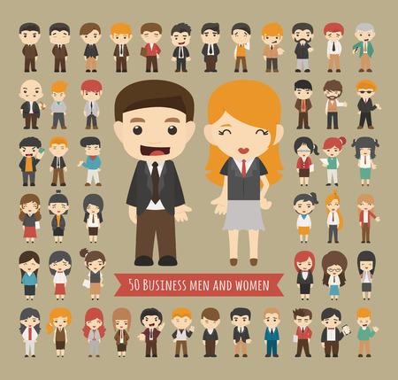 caricatura: Conjunto de 50 hombres y mujeres de negocios, formato vectorial eps10