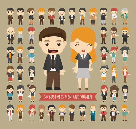 character set: Set of 50 business men and women , eps10 vector format