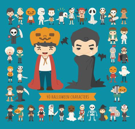 calabaza caricatura: Conjunto de 40 caracteres del traje de halloween, formato vectorial eps10 Vectores
