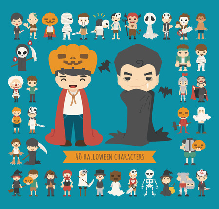 cartoon vampire: Set of 40 halloween costume characters , eps10 vector format Illustration