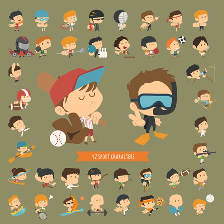 archer cartoon: Set of 42 Sport characters , eps10 vector format Illustration
