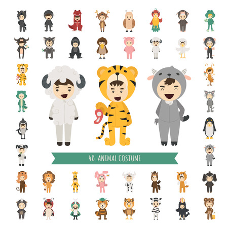 cartoon ant: Set of 40 Animal costume characters , eps10 vector format