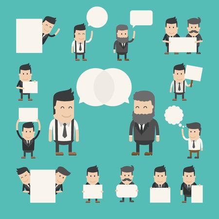 会話の中でビジネスマンの設定、議論したり、議論は、ベクトル形式の eps10  イラスト・ベクター素材