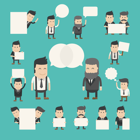 Set of businessman in conversation , discuss , debate , eps10 vector format Vettoriali