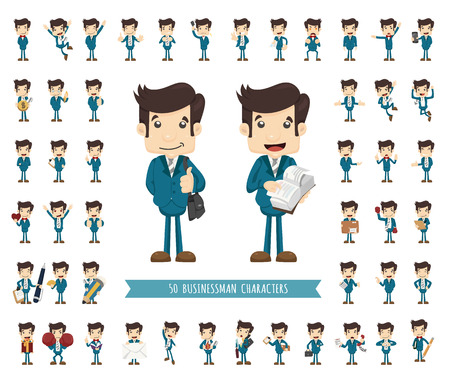 Set of businessman character , eps10 vector format Çizim