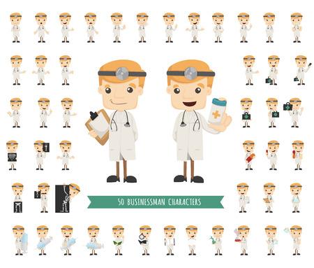 medico caricatura: Conjunto de caracteres médico plantea, formato vectorial eps10 Vectores