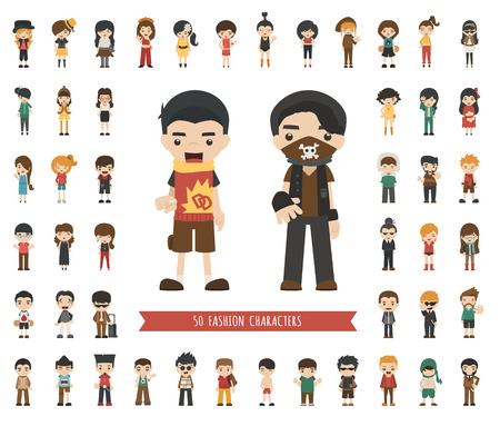 caricaturas de personas: Conjunto de caracteres de la moda, formato vectorial eps10 Vectores
