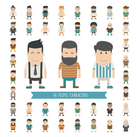 Set of 40 people characters , eps10 vector format Çizim