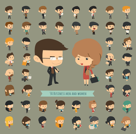 caricature woman: Set of 50 business men and women , eps10 vector format