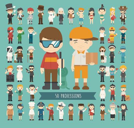caricaturas de personas: Conjunto de 50 profesiones, formato vectorial eps10