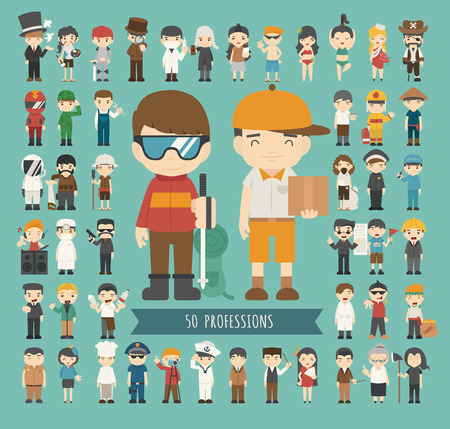 police cartoon: Set of 50 professions , eps10 vector format Illustration