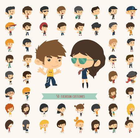 caricaturas de personas: Conjunto de 50 j�venes con estilo de la moda del inconformista, formato vectorial eps10