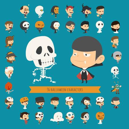 Eps10 vector set van 40 halloween kostuum karakters, formaat