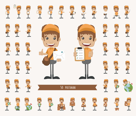 mailman: Set of postman character , eps10 vector format Illustration