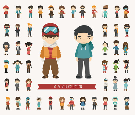 standing: Set of winter collection character , eps10 vector format