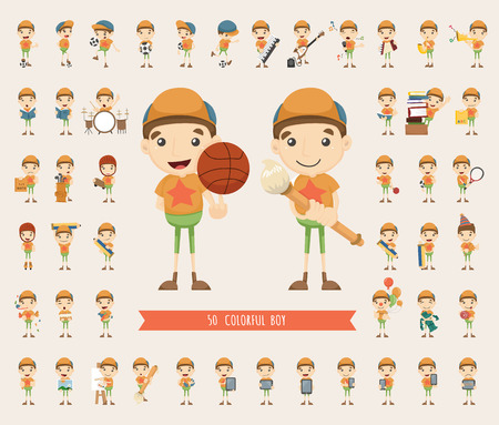 rollerblade: Set of boy character collection , eps10 vector format Illustration