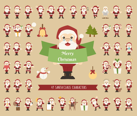 Set of Santa Claus character , eps10 vector format Vector