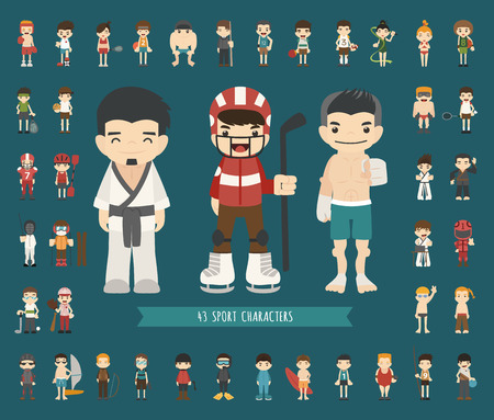 archer cartoon: Set of 43 Sport characters , eps10 vector format