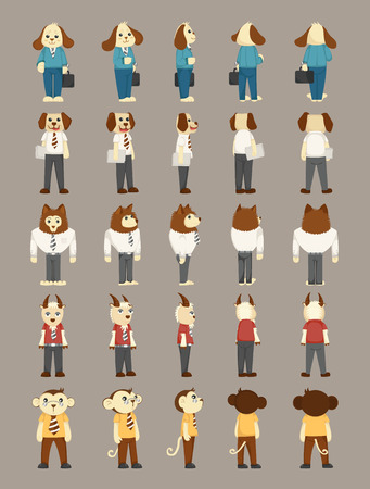 Set of animal business man costume characters  Vector