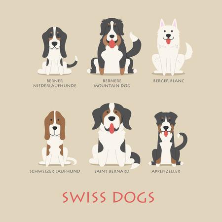 chien: Ensemble de chiens suisses Illustration
