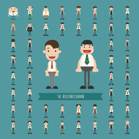 Set of business man characters  Vector