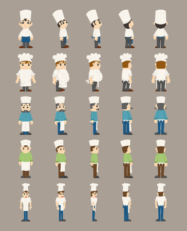 Set of chef costume characters  Vector