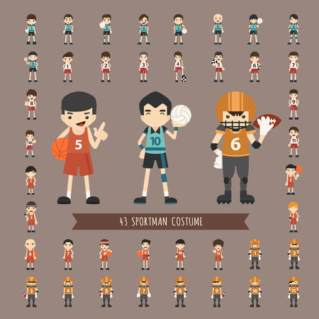 Set of 43  sportsman costume characters  Vector
