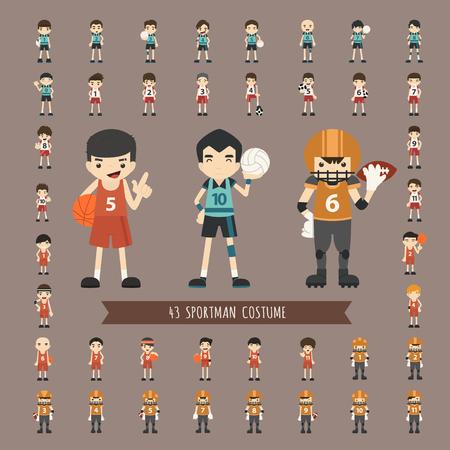 Set of 43  sportsman costume characters  Vector