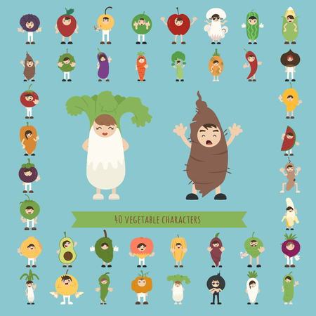 consume: Set of 40 vegetable costume characters