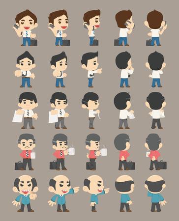 caricaturas de personas: Conjunto de caracteres de hombre de negocios, Vectores