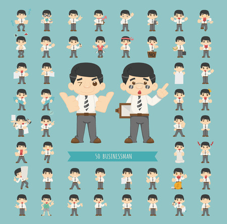 Set of businessman character Stock Vector - 36975419