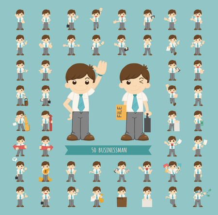young businessman: Set of businessman character
