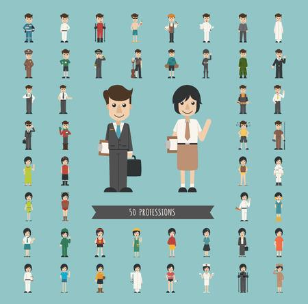 professions: Conjunto de 50 profesiones