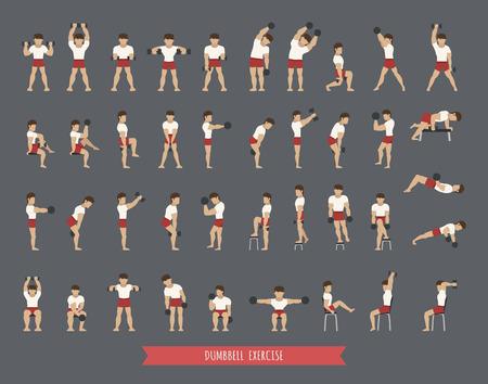 pesas: Conjunto de ejercicios con mancuernas, formato vectorial eps10