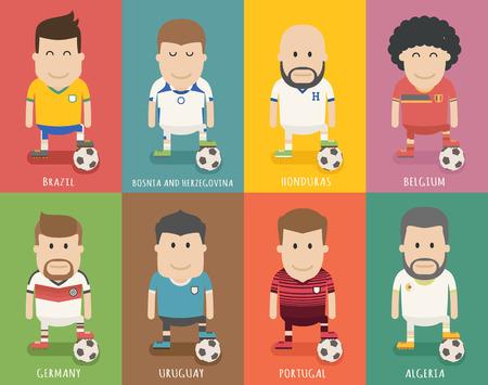 futbol soccer dibujos: Set of national soccer team uniform , football player  \ Vectores