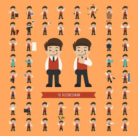 businessman cartoon: Set of businessman character , eps10 vector format Illustration