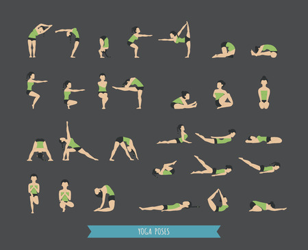 Set of yoga poses , eps10 vector format