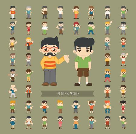 multiple: Set of men and women character , eps10 vector format